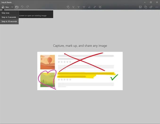 Công cụ Snip & Sketch Screenshot