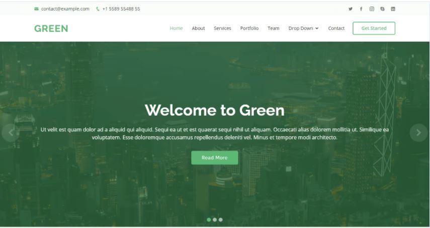 Màu xanh lá cây - Mẫu Bootstrap HTML
