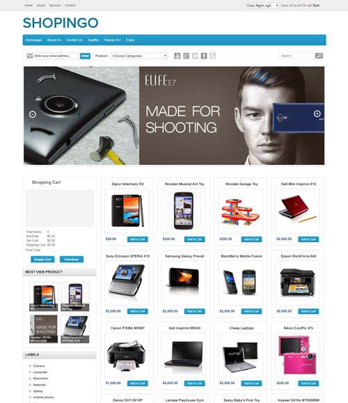 Shopingo free blogspot template 2021