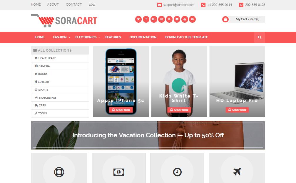 Free SoraCart sales professional blogspot template