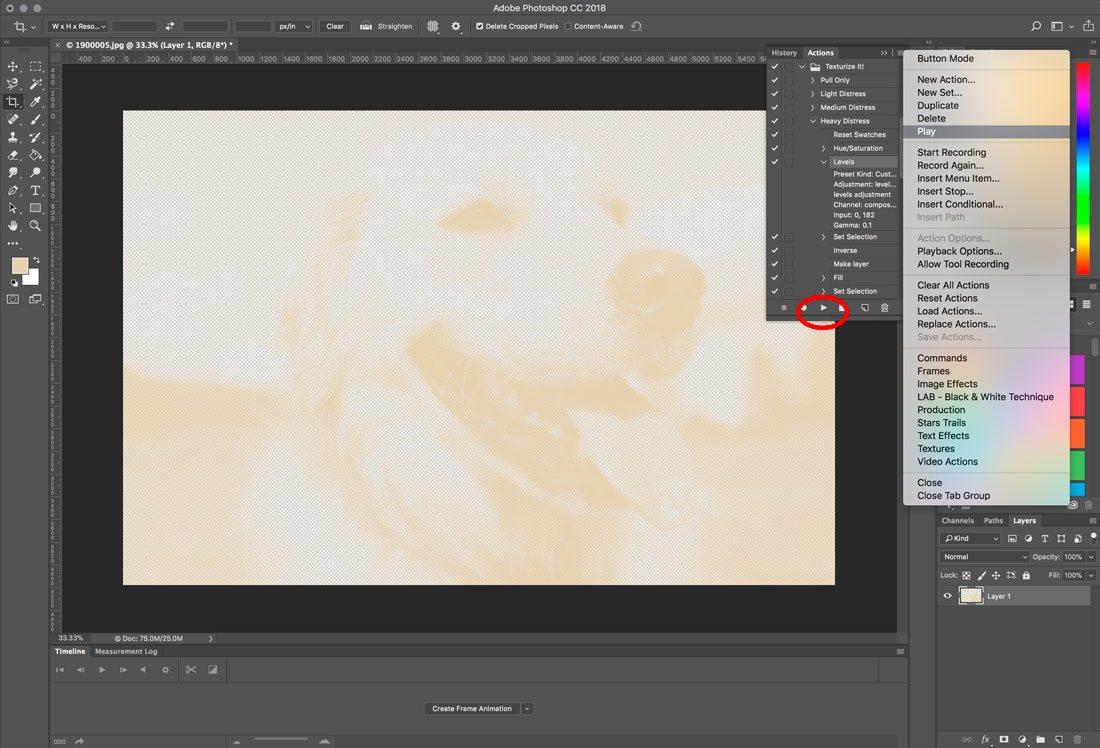 Cách sử dụng các action trong Photoshop