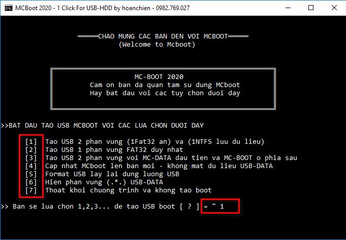 Bộ công cụ tạo USB-HDD boot - Hai chuẩn UEFI-MBR_v7.1 New
