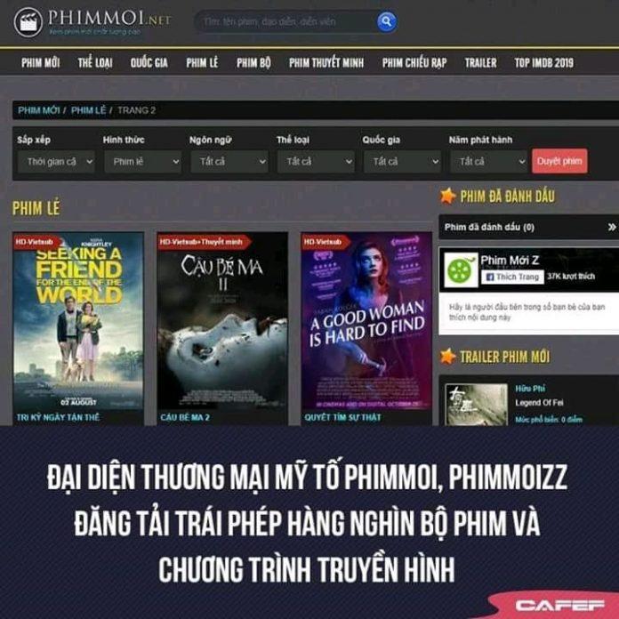 Phimmoi.net bị tố đăng tải trái phép hàng nghìn bộ phim