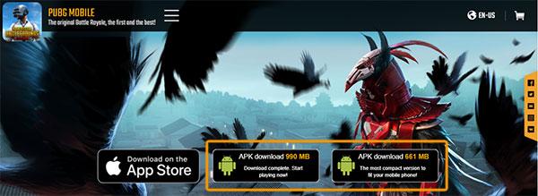 Truy cập trang chủ của game PUBG Mobile