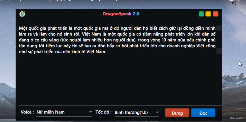 Phần mềm đọc văn bản Tiếng Việt qua API của ZaloAI