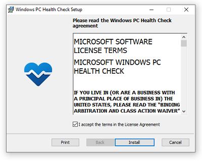 Cài đặt Windows PC Health Check