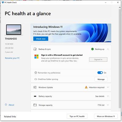 Giao diện của Windows PC Health Check