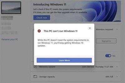 Máy tính không chạy được Win 11